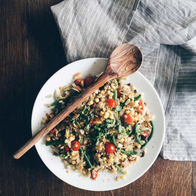 orzo with sweet corn, cherry tomatoes, green beans and basil