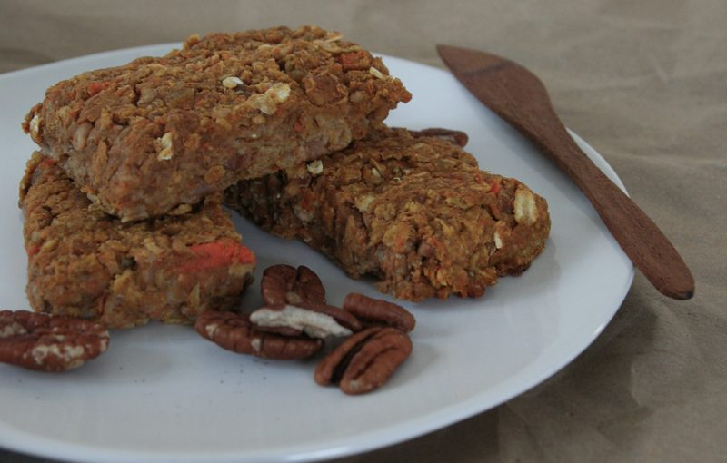 vegan pumpkin carrot pecan protein bars