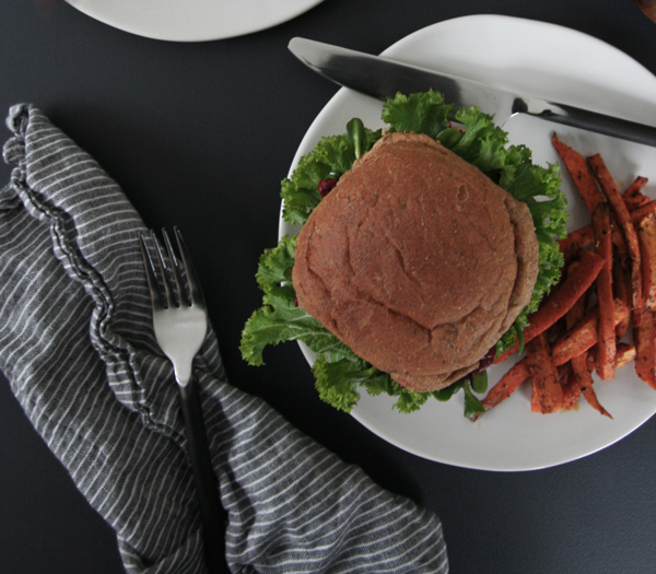 Vegan Fennel, Black Bean and Quinoa Burgers with Sweet Potato Fries & Spiced Ketchup