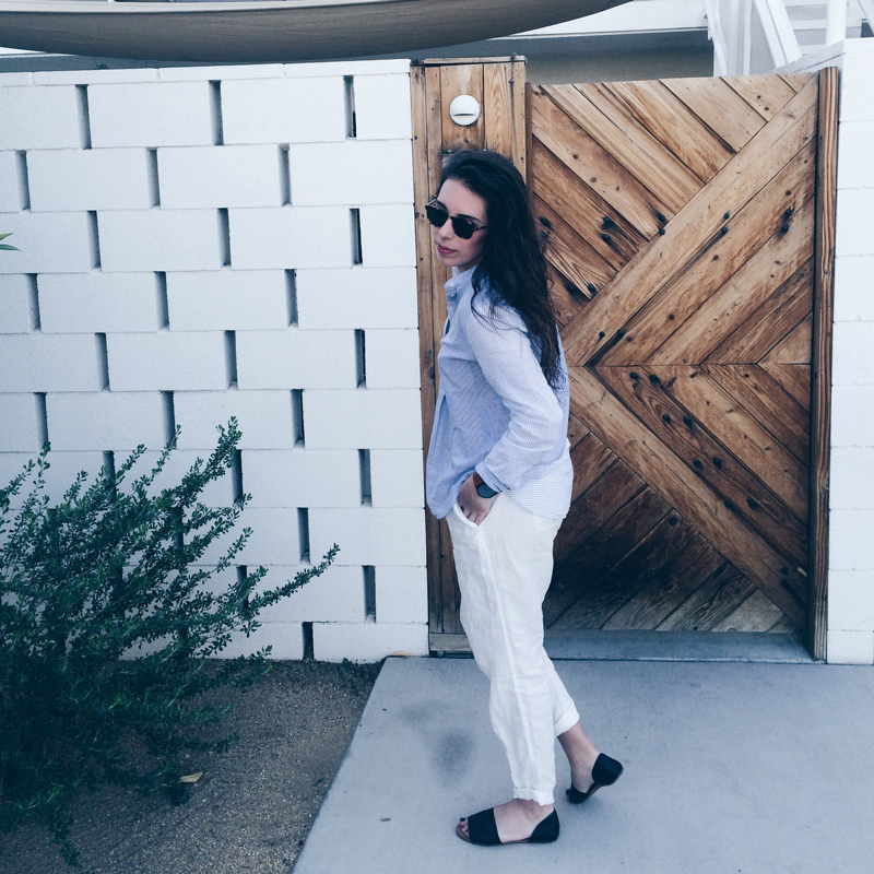 "Ace Hotel & Swim Club Palm Springs, The Honest Company Sunscreen Lotion, Warby Parker Sunglasses, Madewell ""the thea"" sandals"