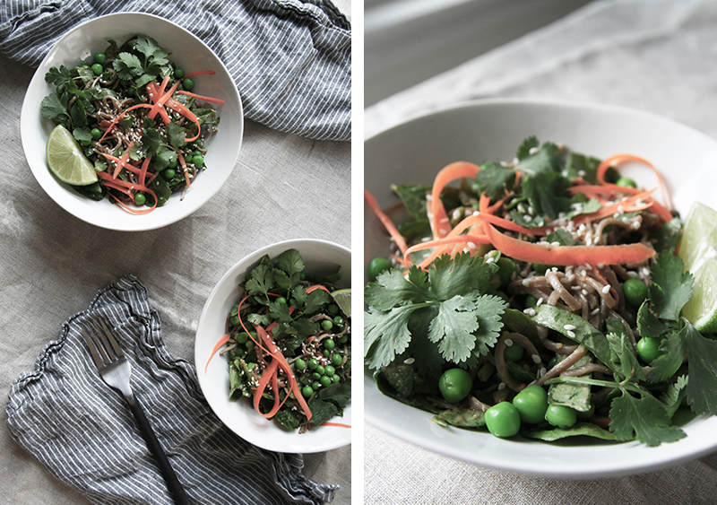 Soba noodle bowl with spinach, carrots, sweet peas and ginger peanut sauce, gluten-free, vegan, vegetarian
