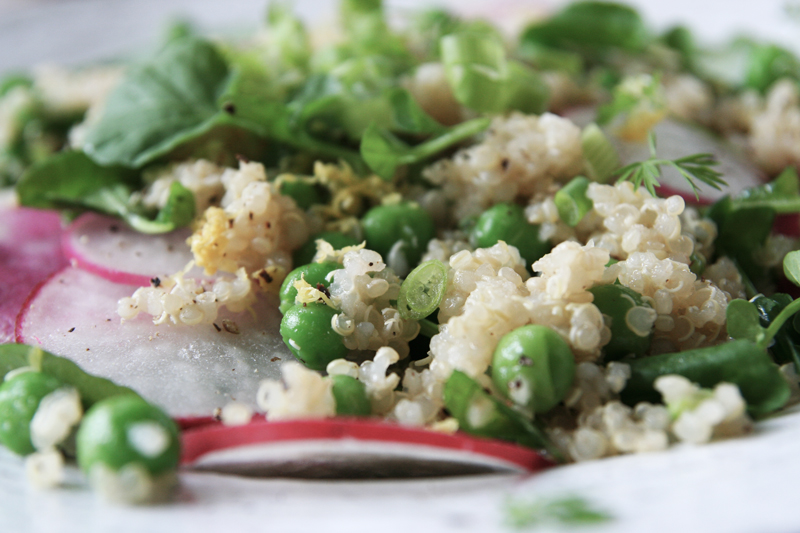 spring quinoa salad with peas, radishes, watercress and lemon