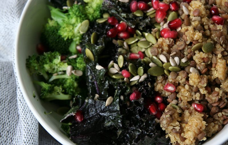 Broccoli, Marinated Kale, Lentil & Quinoa Bowl with Pomegranate Seeds