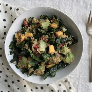 mango, goji, avocado, kale and quinoa salad, vegan and gluten-free