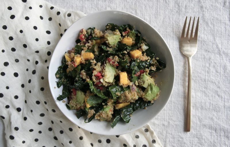 mango, goji, avocado, kale and quinoa salad, vegan and gluten-free