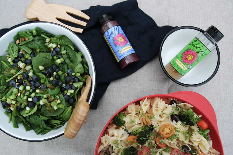 Two Salads with Salad Girl Organic Dressings