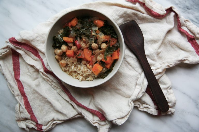 Chickpea, Carrot, Sweet Potato + Kale Stew with Brown Rice