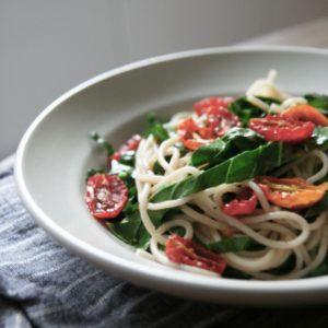 Roasted Tomato + Collard Green Pasta, Vegan, Gluten-free, nut-free