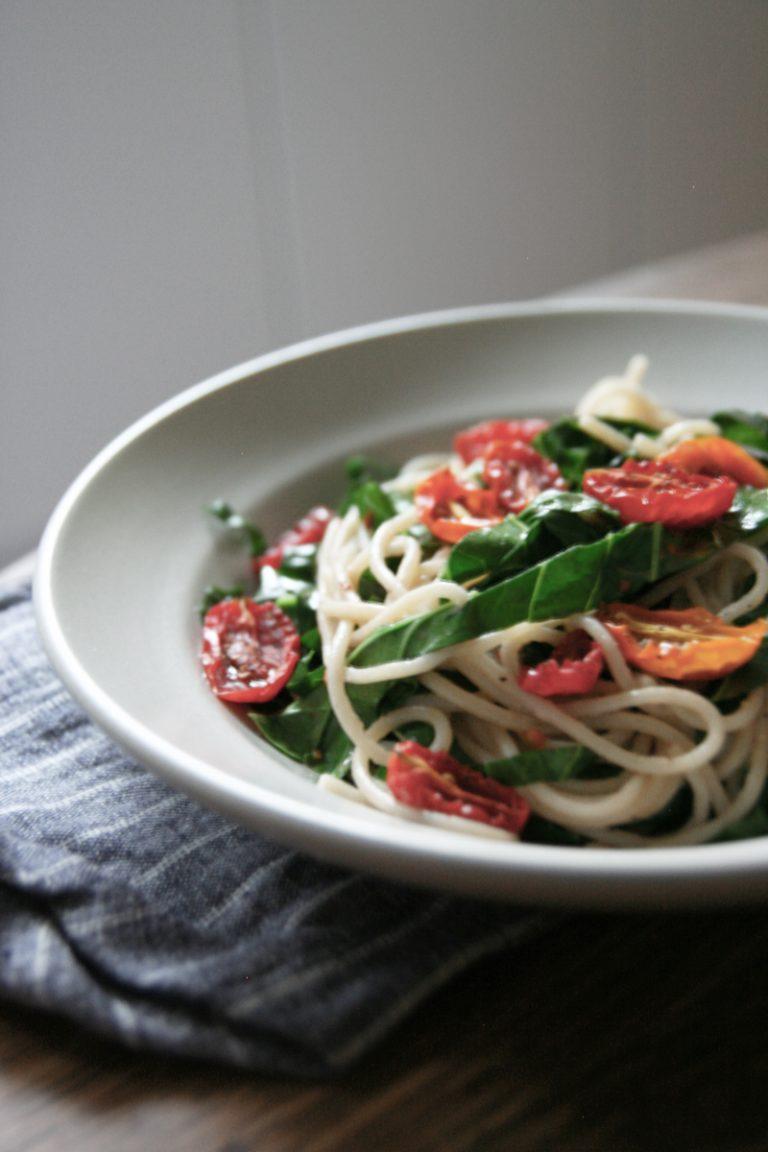 Roasted Tomato + Collard Green Pasta
