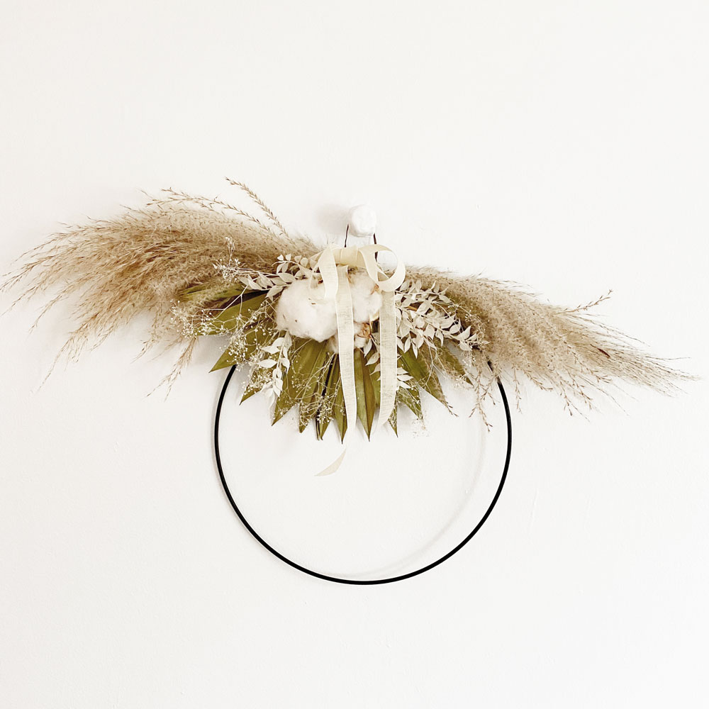 Dried Floral Wreath - Half Moon