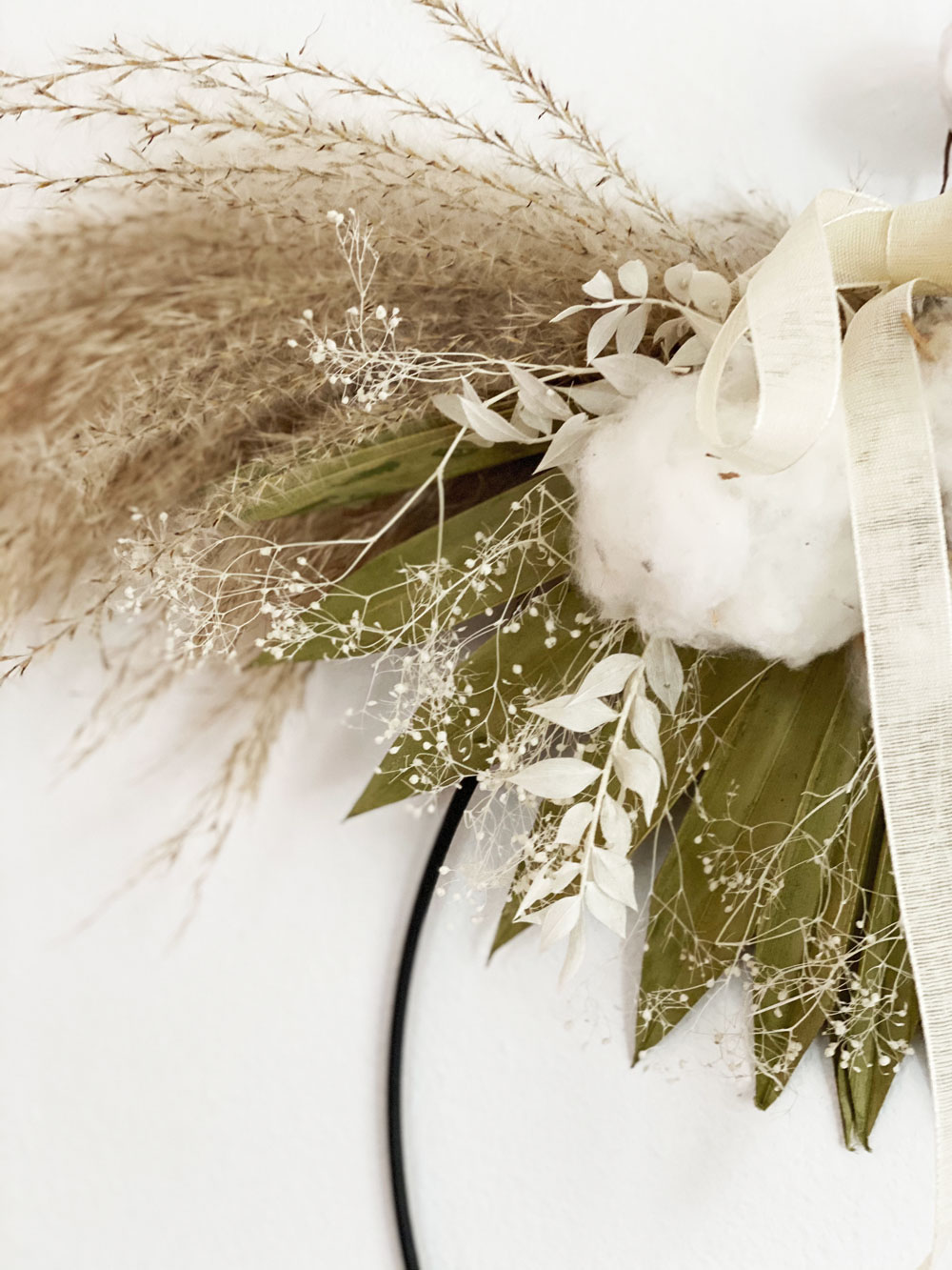 Dried Floral Wreath - Half Moon