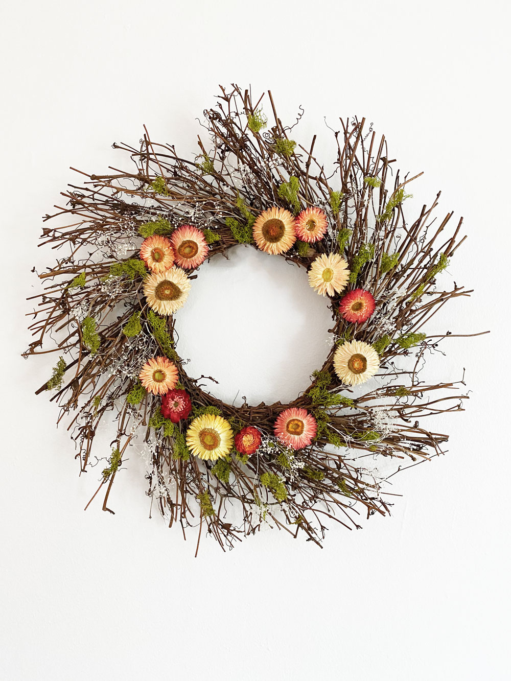 Strawflower & Birch Wreath